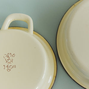 Vintage Pair of Twin Handle Shallow Cream and Brown Enamel Frying Pans