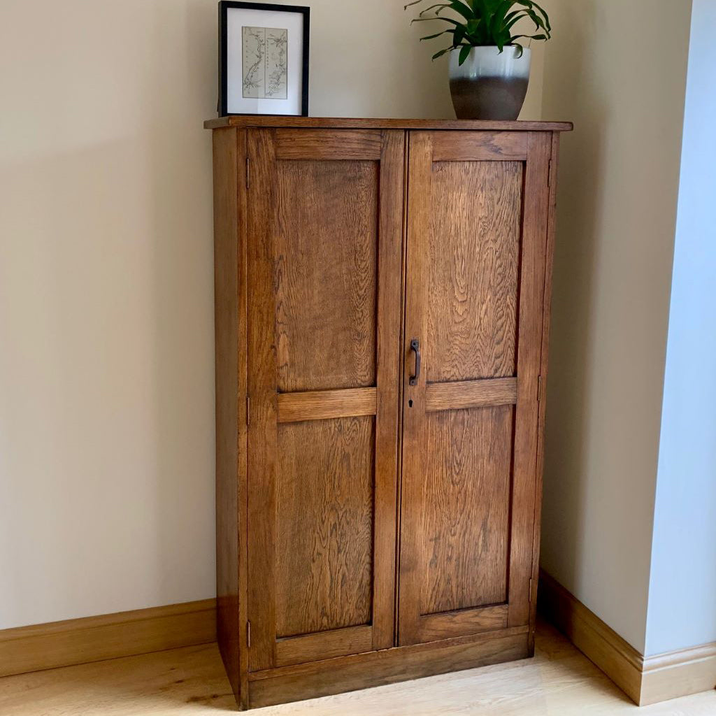 1920's Solid Oak School Cupboard / Bookcase