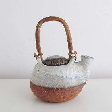 Vintage Stoneware Teapot with Bentwood Handle