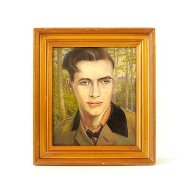 Vintage 1930s Portrait Painting 'Young Man In Uniform' Original Framed Oil Painting