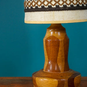 RETRO WOODEN LAMP BASE WITH ORIGINAL SHADE
