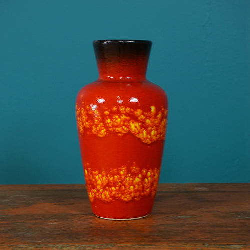 SMALL RED WEST GERMAN VASE