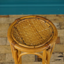 Load image into Gallery viewer, VINTAGE BAMBOO & RATTAN PLANT STAND