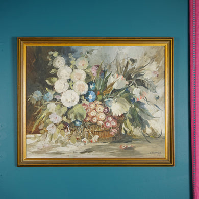 FLORAL FRAMED OIL PAINTING BY W.H HARRINGTON C1969