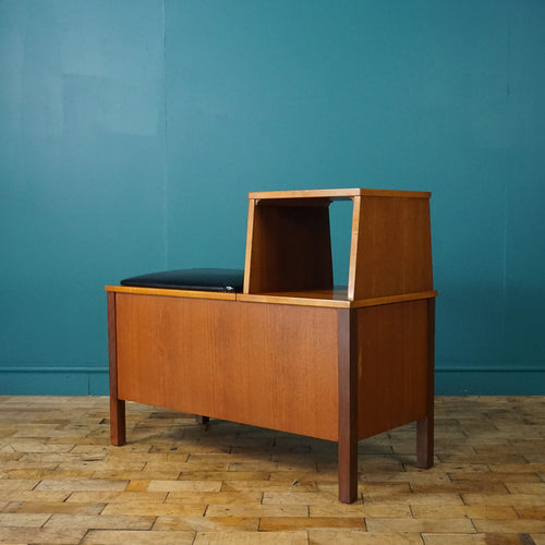 MID CENTURY TEAK TELEPHONE TABLE WITH STORAGE