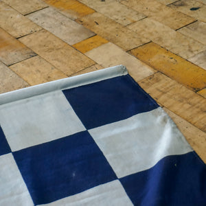 Vintage Railway Lookout Blue & White Chequered Flag