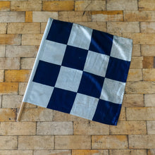 Load image into Gallery viewer, Vintage Railway Lookout Blue & White Chequered Flag