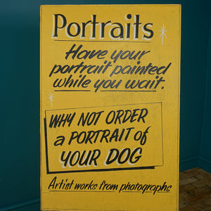 "Hand-Painted ""PORTRAITS"" Advertising Board"
