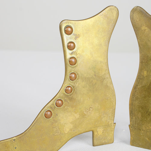 A Pair Of Welsh Folk Art Brass & Copper Boots