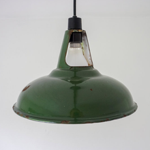 Load image into Gallery viewer, Pair Of Vintage 'Coolicon' Green Enamelled Pendant Light Shades