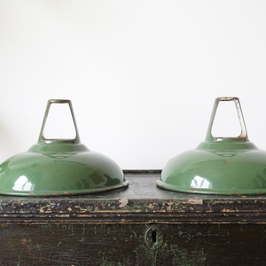 Pair Of Vintage 'Coolicon' Green Enamelled Pendant Light Shades