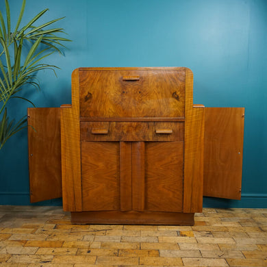 English Burr Walnut Art Deco Bureau
