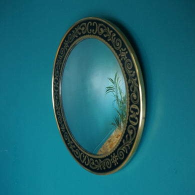 Black & Gold Detailed Brass Convex Mirror