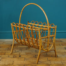 Load image into Gallery viewer, Mid Century Bamboo Franco Albini Style Magazine Rack