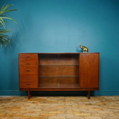 Mid Century Turnidge of London Teak Glazed Bookcase with Drawers