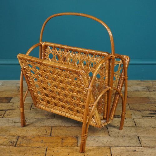 Mid Century Wicker Magazine Rack