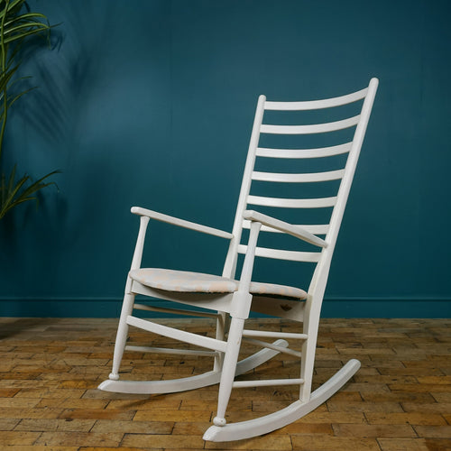 White Mid Century Scandinavian Rocking Chair