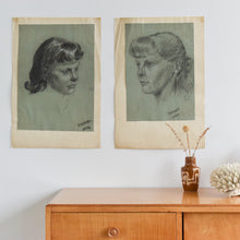 Load image into Gallery viewer, Vintage Pair of 1954 Original Female Charcoal Life Drawing Portraits by Robert Arthur Bramwell