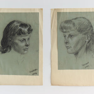 Vintage Pair of 1954 Original Female Charcoal Life Drawing Portraits by Robert Arthur Bramwell