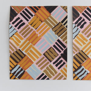 Vintage Pair of Original 1987 Abstract Collages by Artist Robert Arthur Bramwell