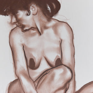 Vintage 1987 Original Signed Pastel Nude Female Life Drawing by Artist Robert Arthur Bramwell