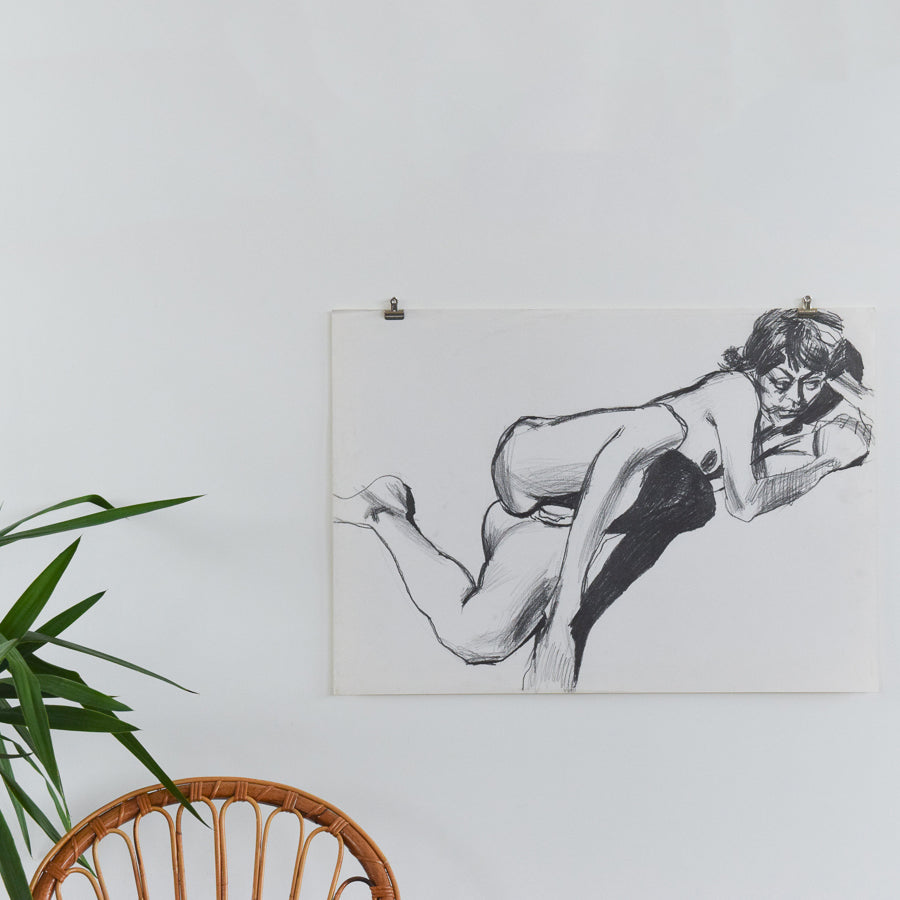 Vintage Original Nude Female Life Drawing by Robert Arthur Bramwell