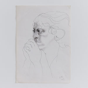 Vintage 1980s Original Signed Pen Drawing by Robert Arthur Bramwell