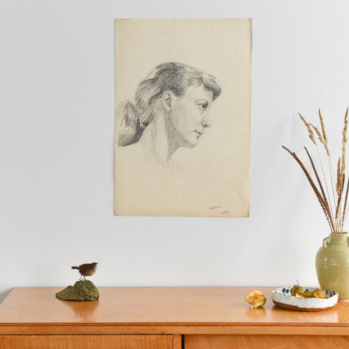 Vintage 1954 Original Female Pencil Life Drawing Portrait by Robert Arthur Bramwell