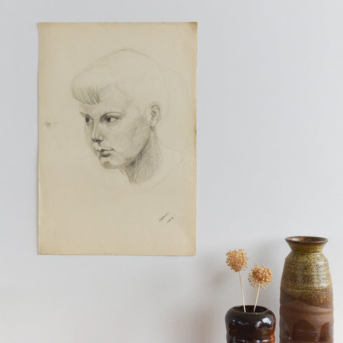 Vintage 1954 Original Nude Female Charcoal Life Drawing by Robert Arthur Bramwell