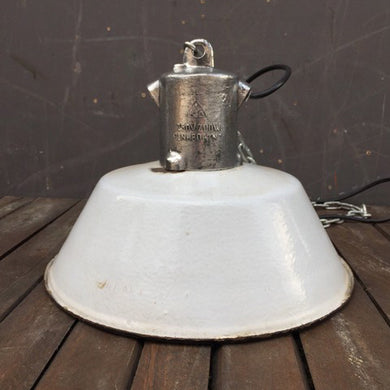 Vintage Circa 1960s East German Industrial Enamel Pendant Light