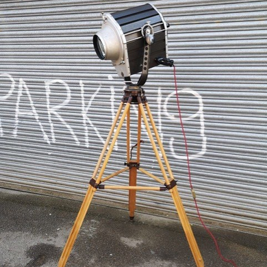 Vintage 1970s East German Theatre Spotlight On Wooden Tripod