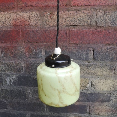 1930s German BAUHAUS Alabaster Style Opaline Glass Hanging Pendant Light