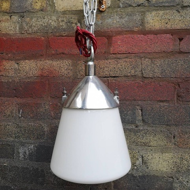 Post War Kandem BAUHAUS Opaline Glass Industrial Pendent Lights By Marianne Brandt