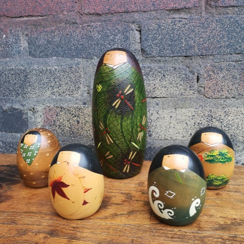 Vintage Family Of Hand Painted Wooden Japanese Kokeshi Dolls
