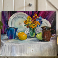 Load image into Gallery viewer, Still-Life Oil Painting on board, with lemons and flowers