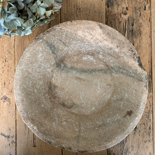 Antique Marble Stone Bowl - 2