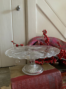 Clear Pressed Glass Cake Stand