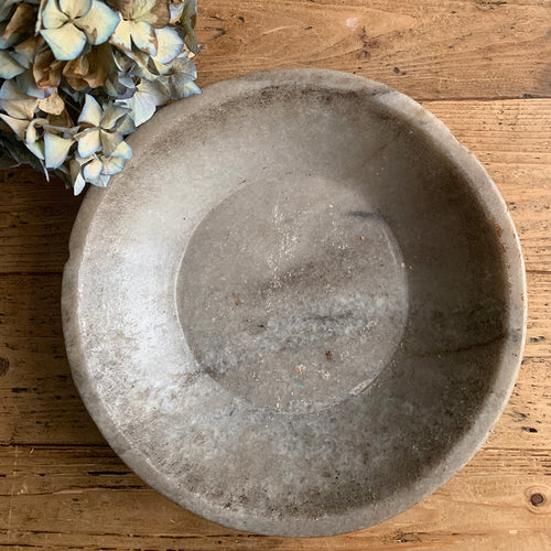 Antique Marble Stone Bowl - 4
