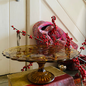 Vintage Amber Pressed Glass Cake Stand