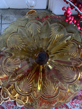 Load image into Gallery viewer, Vintage Amber Pressed Glass Cake Stand