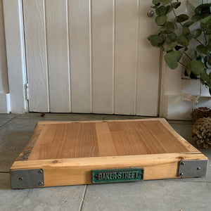 Reclaimed Wood Chopping Block with Green Plaque