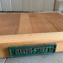 Load image into Gallery viewer, Reclaimed Wood Chopping Block with Green Plaque