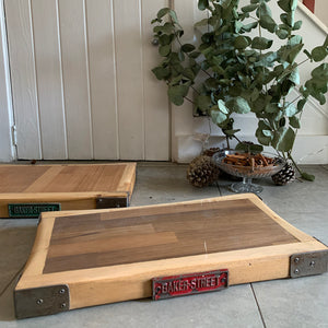 Reclaimed Wood Chopping Block with Red Metal Plaque