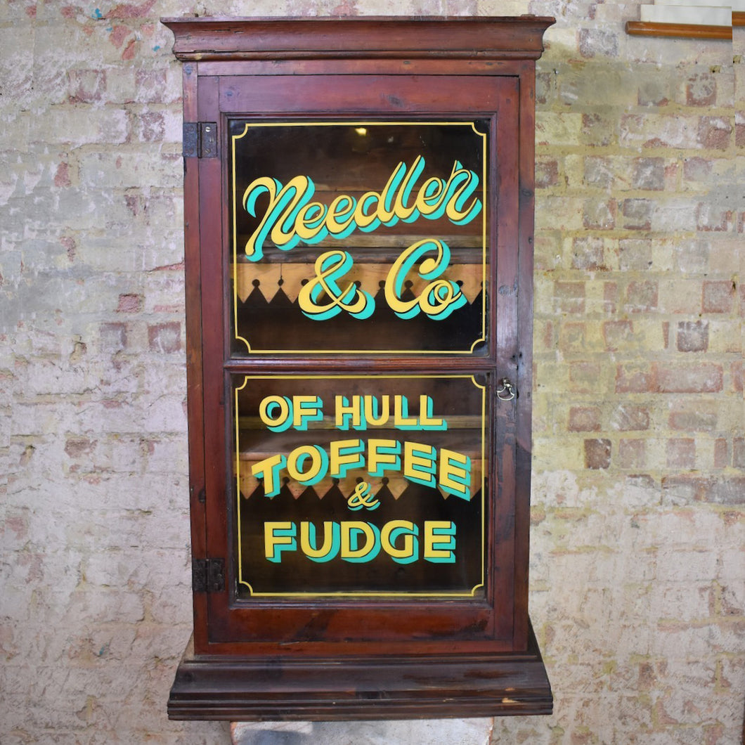 Antique Needler and Co Confectionay Shop Advertising Glazed Cabinet