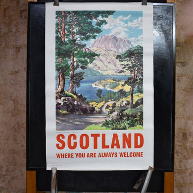 Original Scotland Travel Poster of Loch Maree by James Porteous Wood