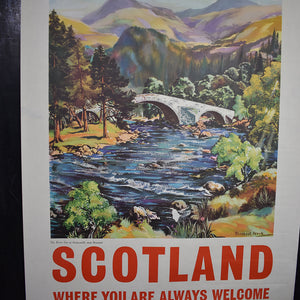 Original Scotland Travel Poster of the River Dee by James Porteous Wood