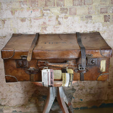 Load image into Gallery viewer, Antique Leather Travel Case Raf WW1 WW2 Australia Orient Line History Trunk