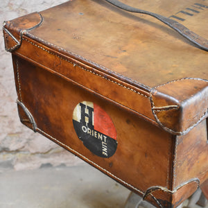Antique Leather Travel Case Raf WW1 WW2 Australia Orient Line History Trunk