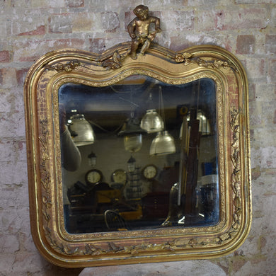 Antique Victorian 19th Century Gilt Mirror Looking Glass Plaster Cherub Original