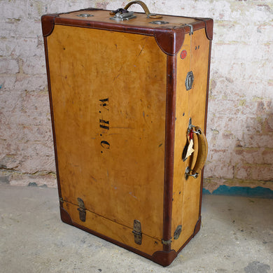 Antique Leather Travel Case Trunk Wardrobe Steamer Vintage Adventure Suitcase